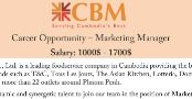 Marketing Manager at CBM with salary rate from 1000$ - 1700$